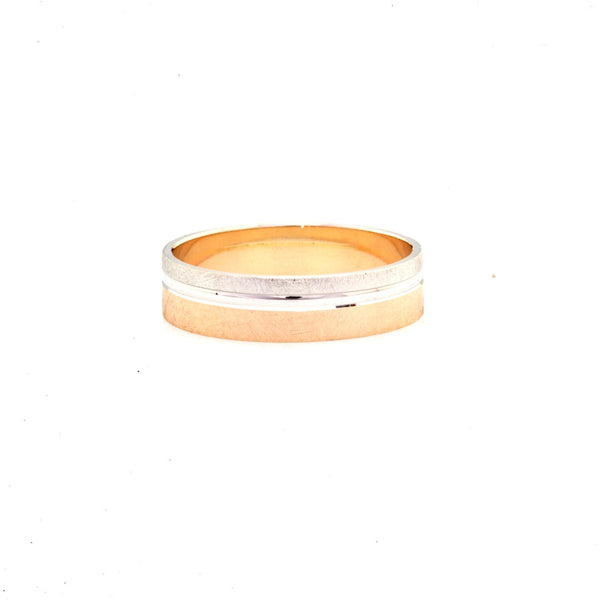 Two Tone Brush Finish 14K Gold Men's Wedding Band