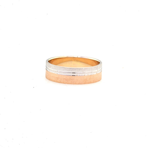 Two Tone Brush Finish 14K Gold Women's Wedding Band