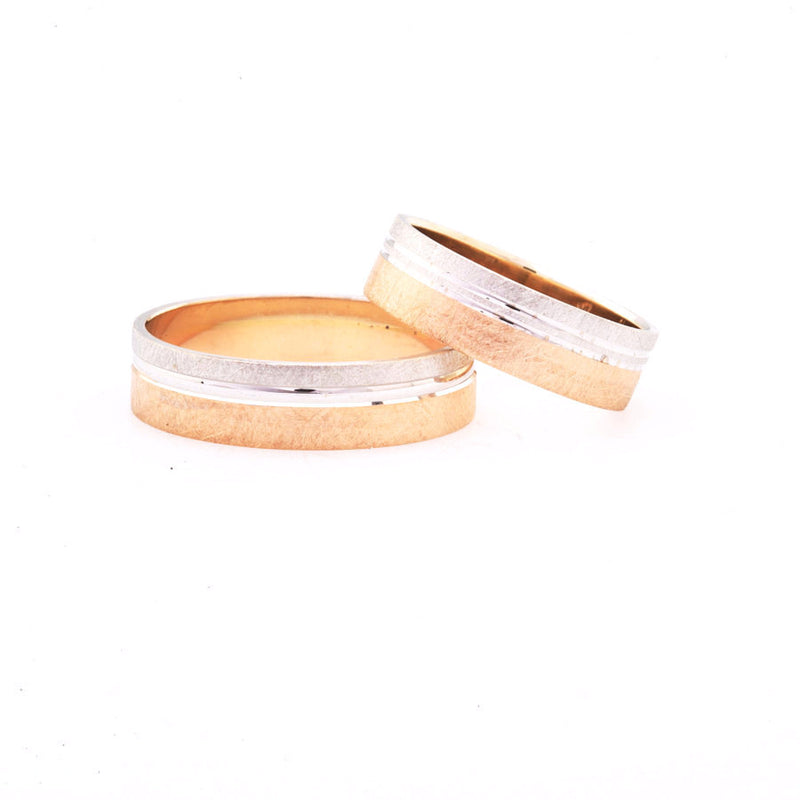 Matching Wedding Set - Two Tone Brushed Finish 14K Bands