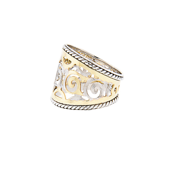 Cigar Ring with 14K Two-Tone Gold Scroll Design