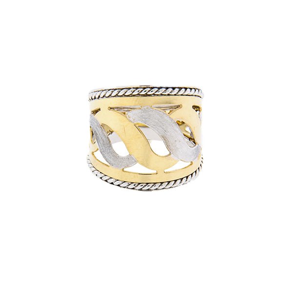14K Two-Tone Gold Cigar Ring with Swirl Design