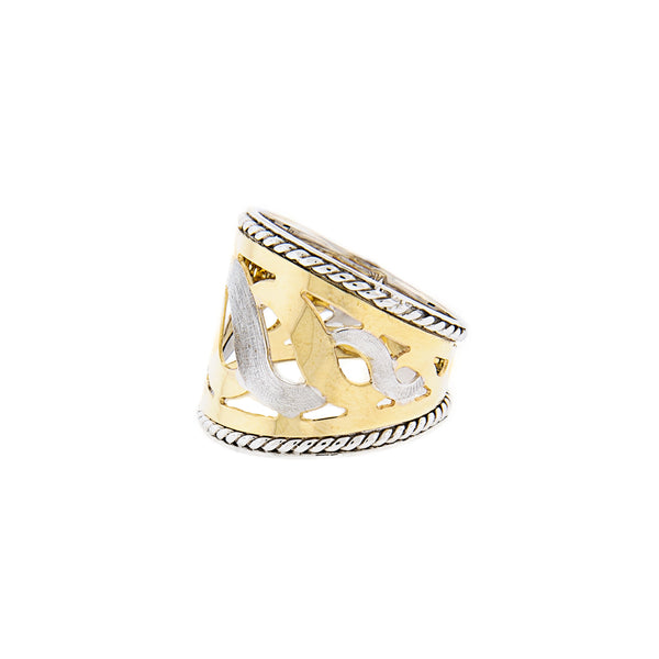 Swirl Design Cigar Ring in 14K Two-Tone Gold