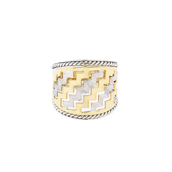 14K Two-Tone Gold Cigar Ring with Zigzag Design