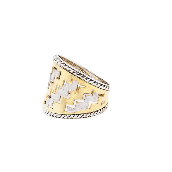 Zigzag Pattern Cigar Ring in 14K Two-Tone Gold
