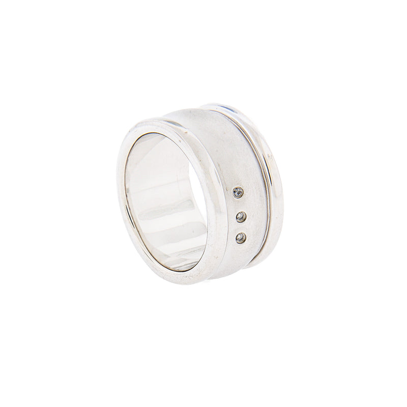 Men's Sterling Silver & Diamond Ring