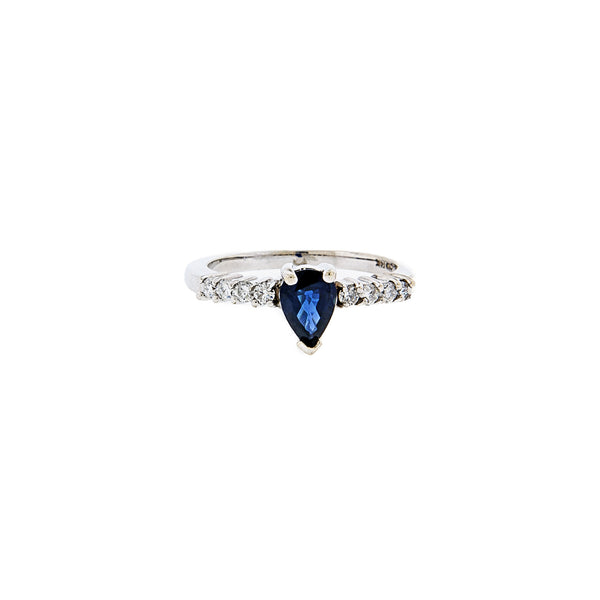Faceted Teardrop Sapphire & Diamond Ring in 14K Gold