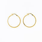 Hoop Earrings with Two Finishes of 14K Yellow Gold