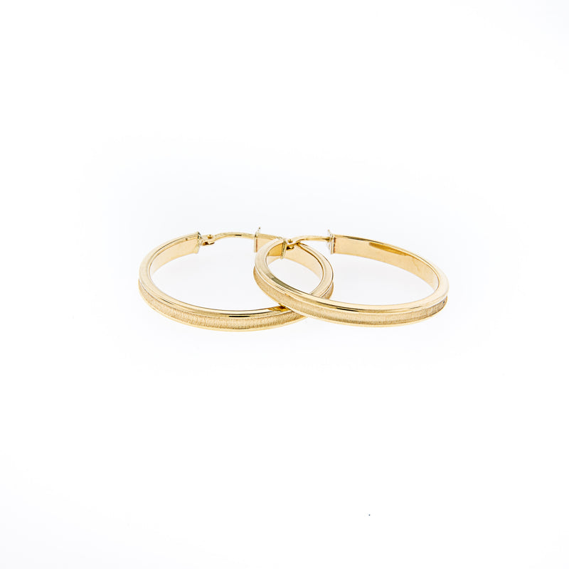 14K Gold Hoops Earrings with two finishes