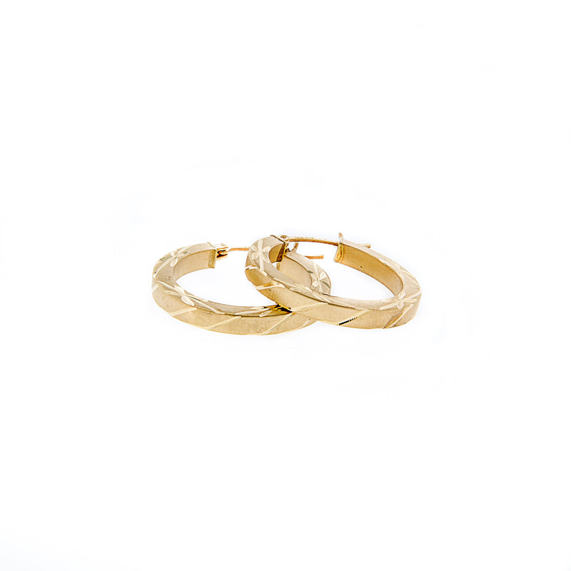 Diamond Cut 14K Gold Hoop Earrings