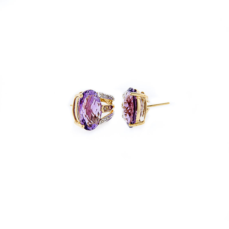 French Clip Earrings with Amethyst and Diamonds