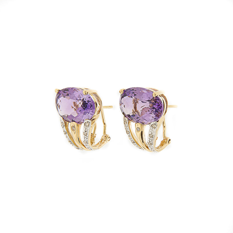 14K French Clip Amethyst and Diamond Earrings
