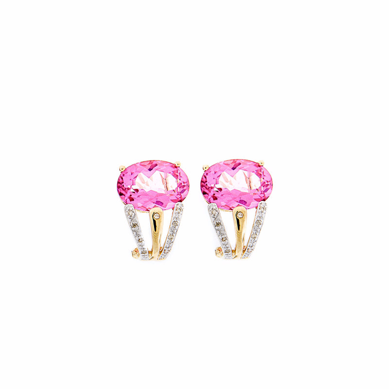 Pink Topaz & Diamond Earrings