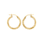 14K Gold Hoop Earrings Diamond Cut