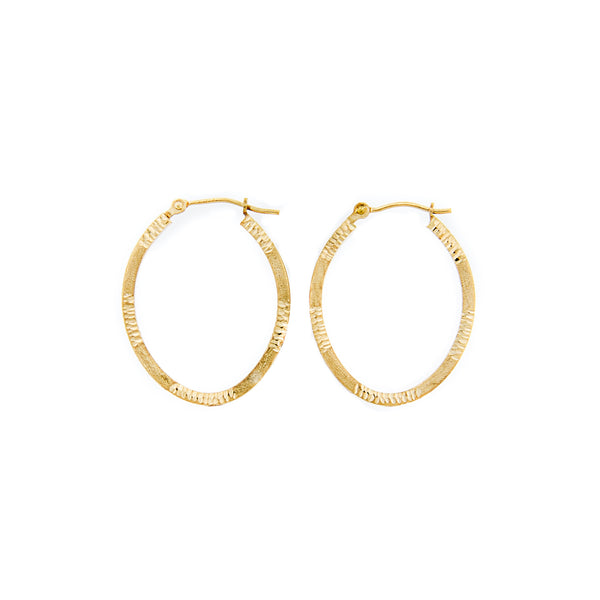 14K Gold Etched Oval Hoop Earrings