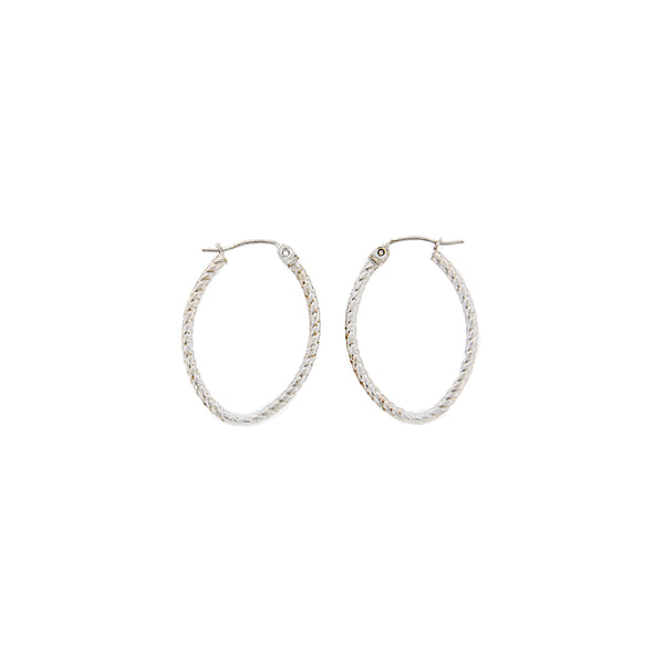 14K White Gold Rope Pattern Oval Hoop Earrings