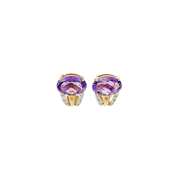 Amethyst & Diamond Earrings 14K Yellow Gold