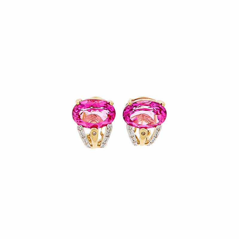 French Clip Pink Topaz & Diamond Earrings in 14K Gold