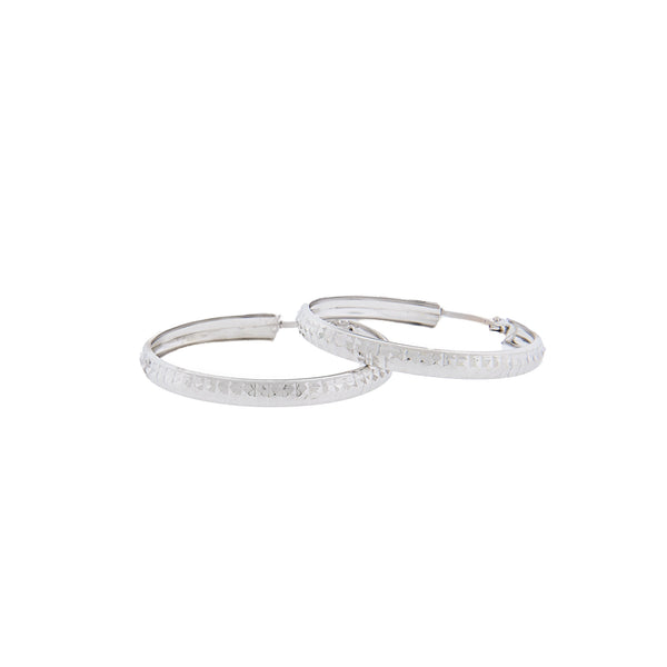 14K White Gold - Diamond Cut Hoop Earrings