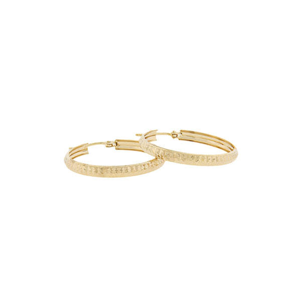 14K Yellow Gold - Diamond Cut Hoop Earrings