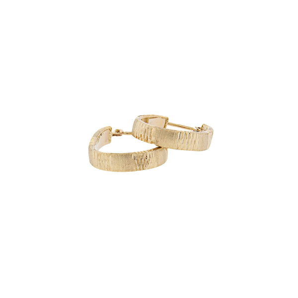 Oblong Hoop Diamond Cut Earrings in Brushed 14K Yellow Gold