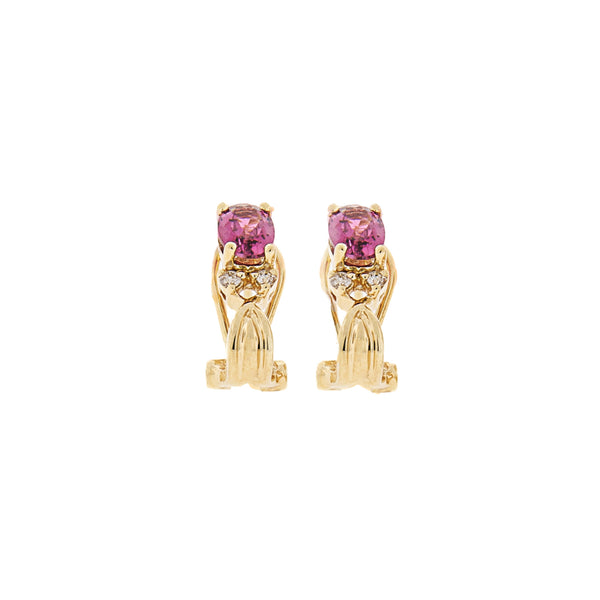 14K Gold Pink Topaz French Clip Earrings