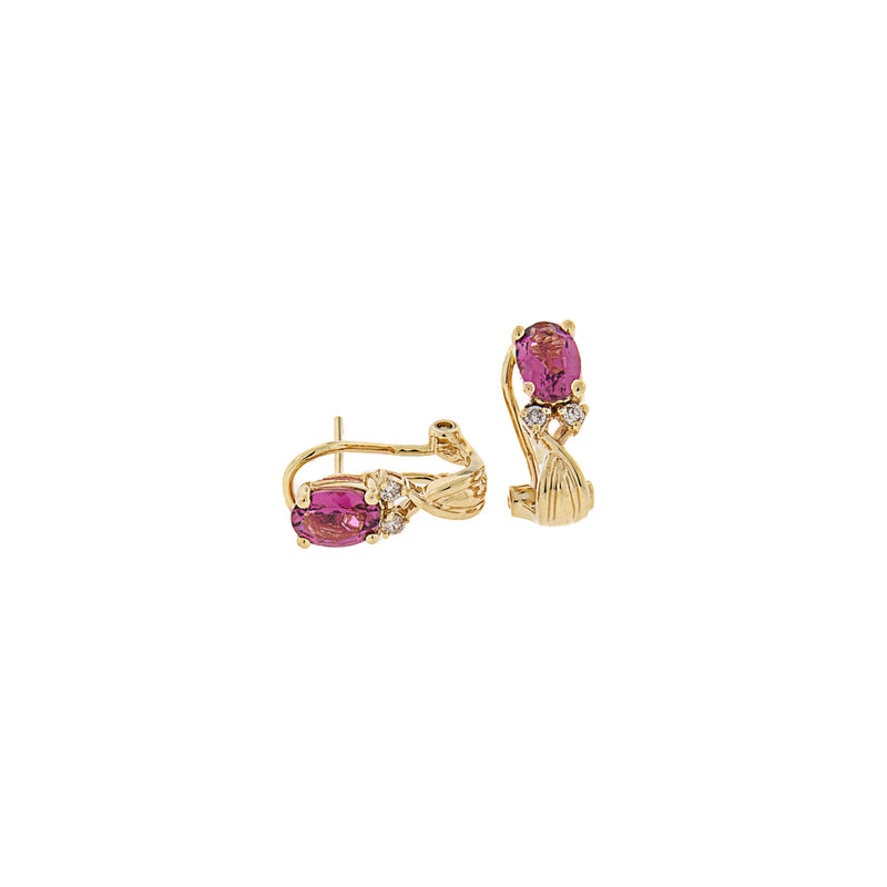 Pink Topaz 14K Yellow Gold French Clip Earrings
