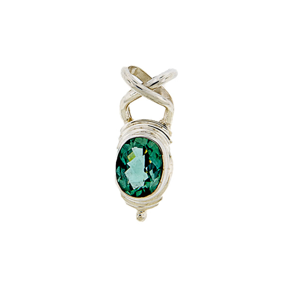 Sterling Silver Pendant with Faceted Oval Green Quartz