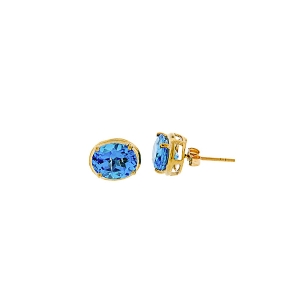 Blue Topaz Oval Post Earrings 14K Yellow Gold