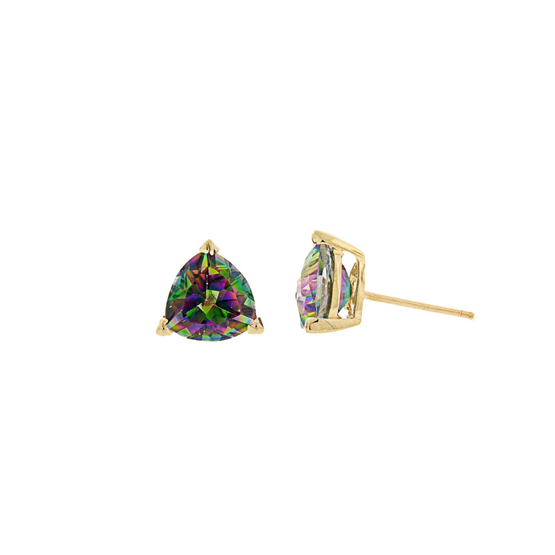 Trillion Shaped Mystic Topaz Post Earrings