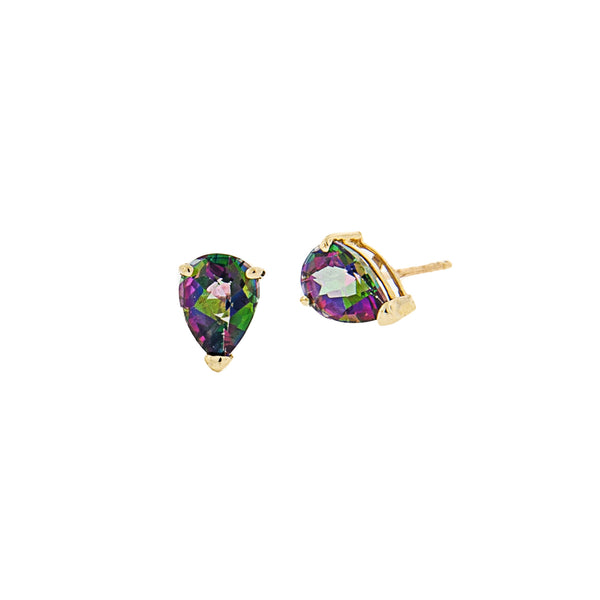Mystic Topaz Teardrop Post Earrings in 14K Yellow Gold