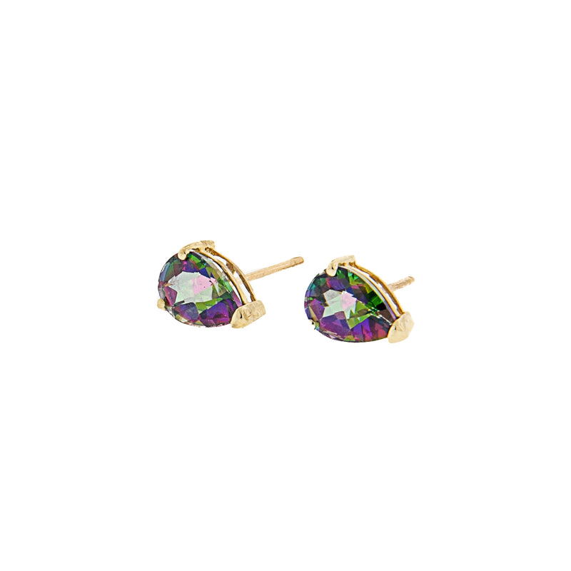 14K Gold Mystic Topaz Teardrop Post Earrings