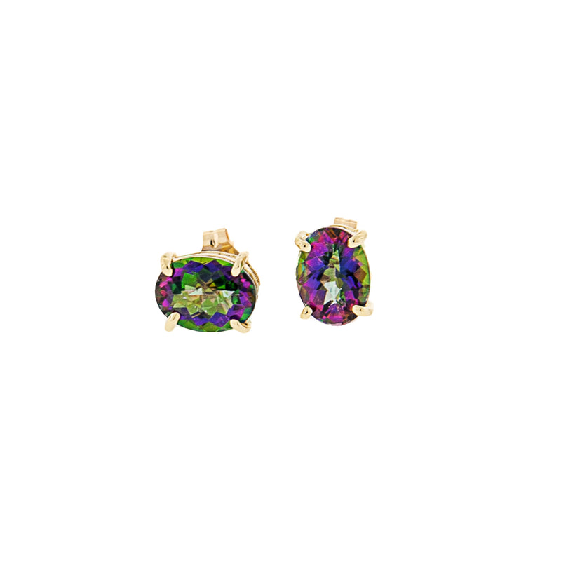Mystic Topaz Oval Post Earring in 14K Yellow Gold