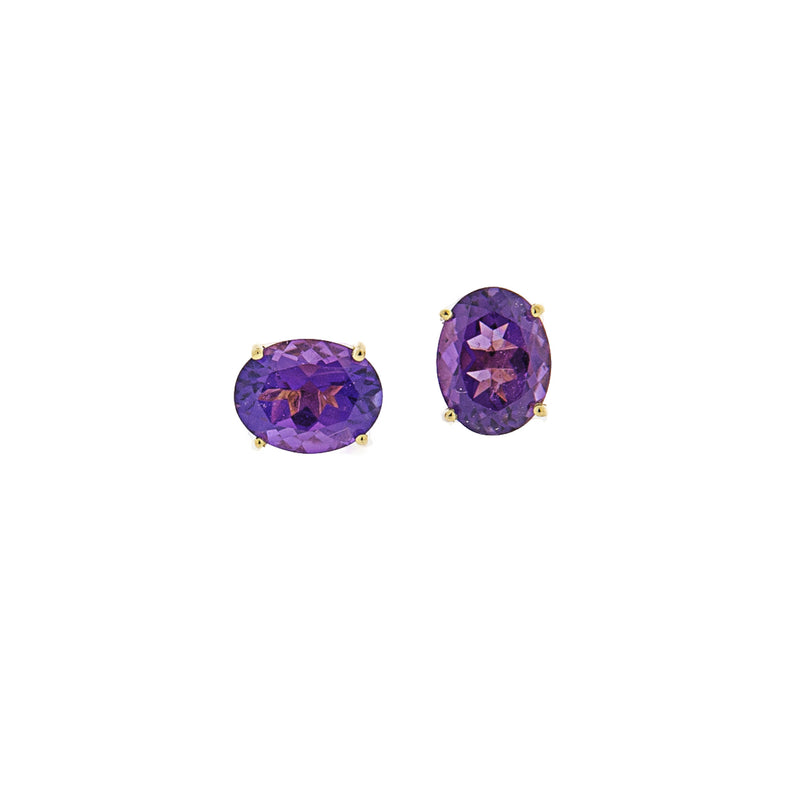 Amethyst Post Earrings in 14K Gold