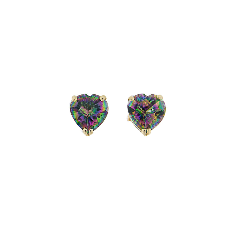 Heart Shaped Mystic Topaz 14K Gold Post Earrings