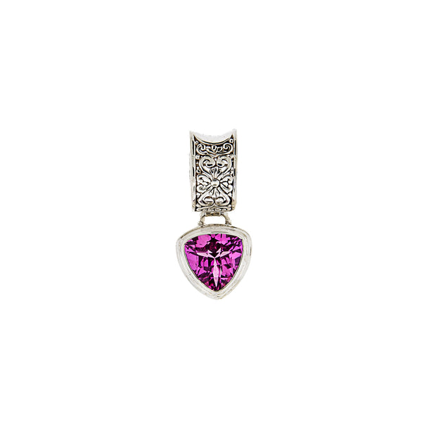 Handcrafted Sterling Silver Pendant with Trillion Rose Corundum