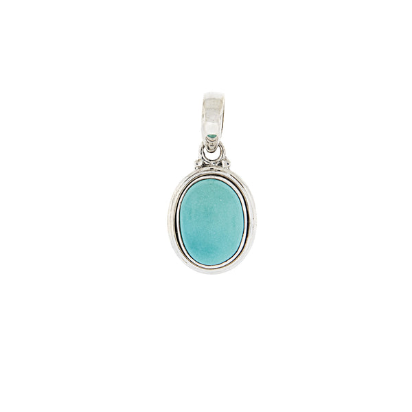 Oval Turquoise Pendant set in Sterling Silver
