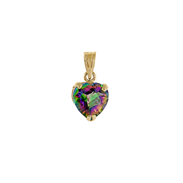 Mystic Topaz Heart Shaped Pendant - 14K Yellow Gold