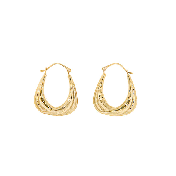 Hoop EarringsDiamond Cut 14K Yellow Gold