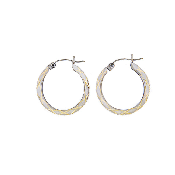 14K White Gold Hoop Earrings with 14K Yellow Gold etched design