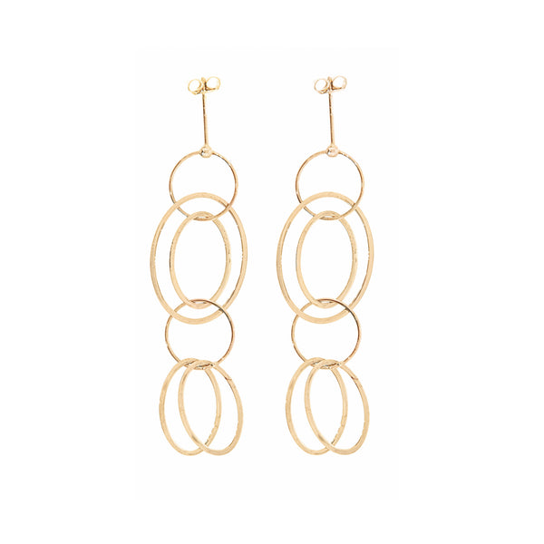 Dangle Chain Post Earrings 14K Gold