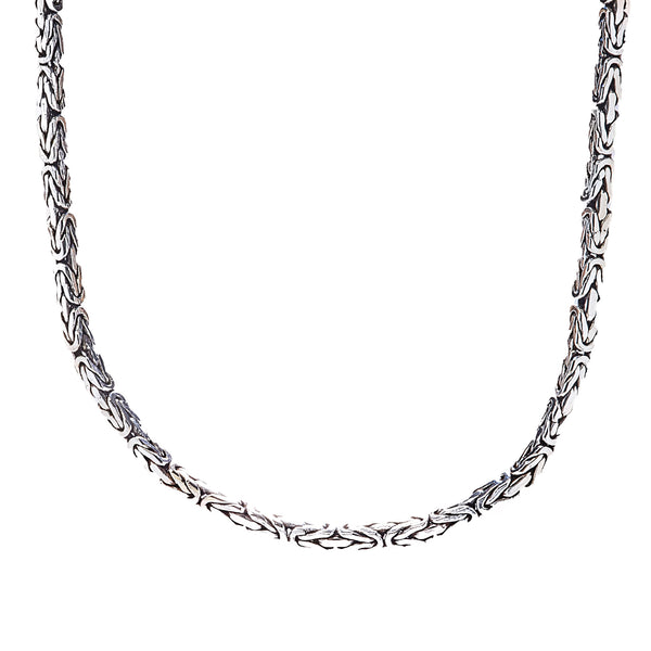 Square Byzantine Sterling Silver Chain Necklace