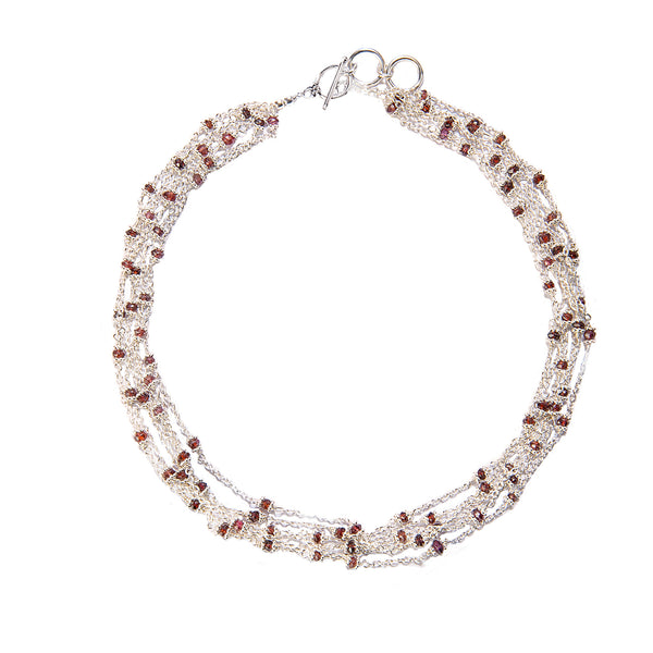 Garnet Multi Strand Sterling Silver Necklace