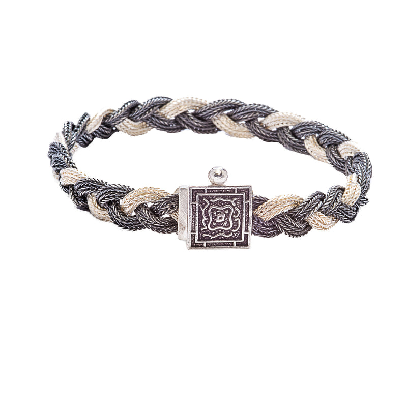 Oxidized Woven Chain Sterling Silver Bracelet