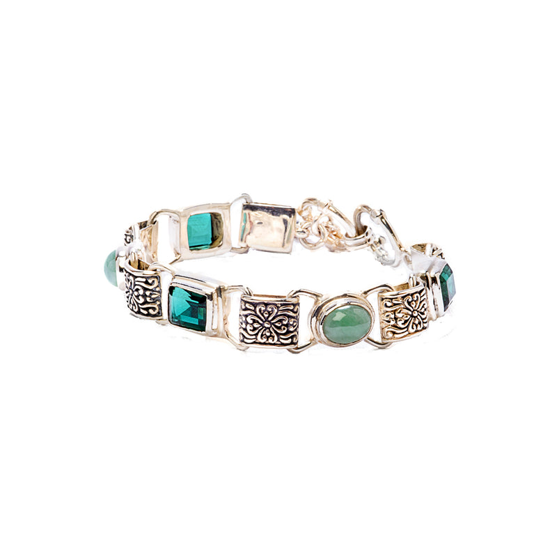 Emerald Green Quartz and Larimar Sterling Silver Bracelet