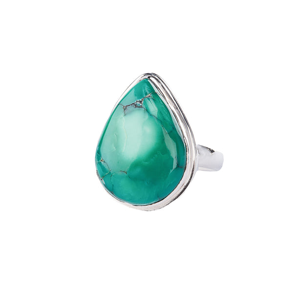 Tear Shaped Turquoise Sterling Silver Ring