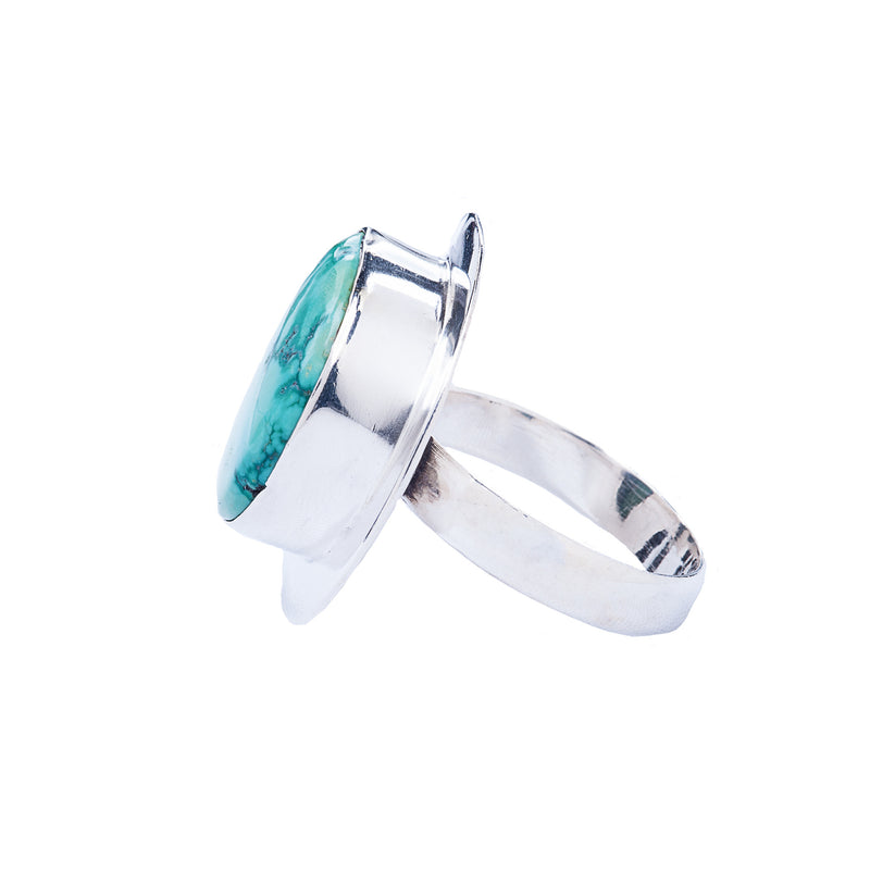 Sterling Silver Ring with Half Moon Shaped Turquoise