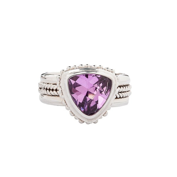 Handcrafted Sterling Silver Ring with Trillion Shape Rose Corundum Bali Style Bezel