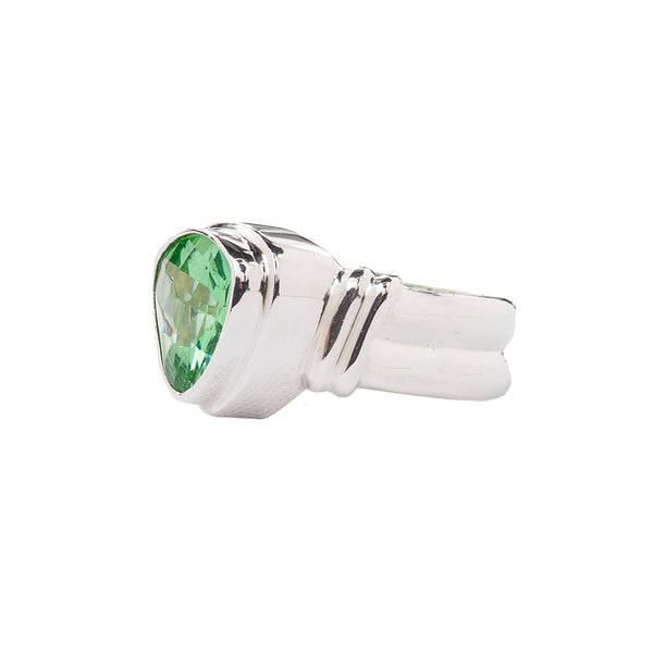 Sterling Silver Ring with Green Trillion Quartz with Step Bezel