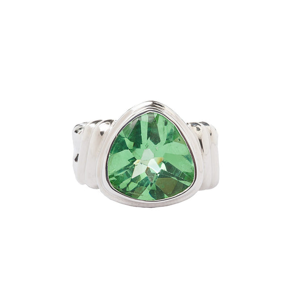 Green Trillion Quartz Sterling Silver Ring