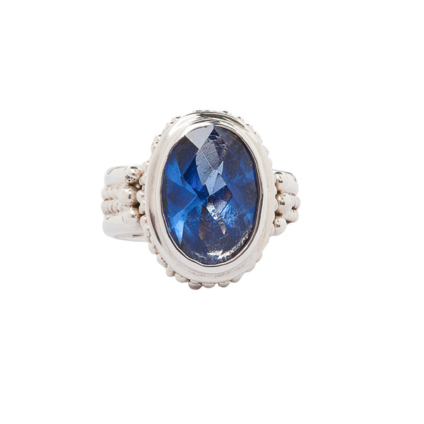 Oval Blue Quartz Handcrafted Sterling Silver Ring Bali Style